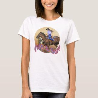 T-shirt blanc de course du baril de la femme