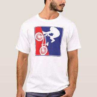 T-shirt Blanc de cycliste de BMX et bleu rouges