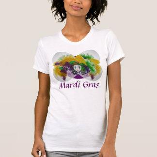 T-shirt blanc de masquage de mardi gras