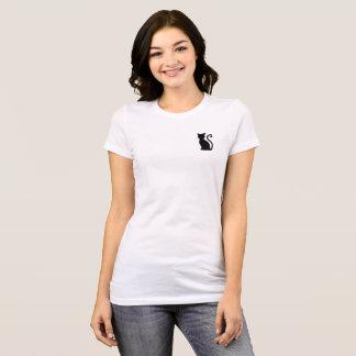 T-shirt blanc lisse mignon de chat noir