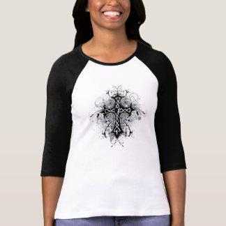 T-shirt blanc noir de coutume de croix et de