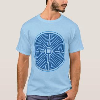 T-shirt bleu chinois de labyrinthe d'écho