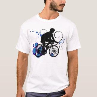 T-shirt Bleu de cavalier de vélo