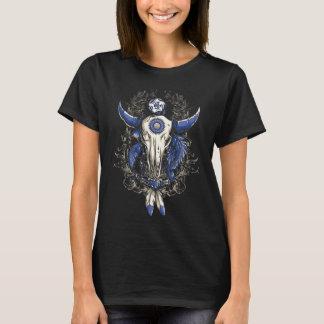 T-shirt Bleu de CRÂNE de BULL de Natif américain