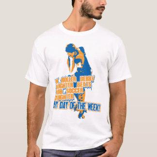 T-shirt Bleu de fille de Derby de rouleau