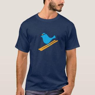 T-shirt bleu de jour d'oiseau