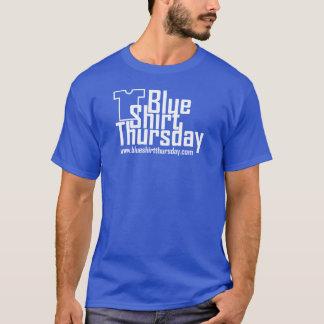 T-shirt bleu de logo de jeudi de chemise