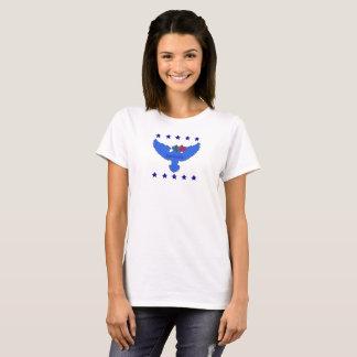 T-shirt bleu de logo de tic sans des mots