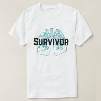 T-shirt Bleu de poumons de survivant d'embolie pulmonaire