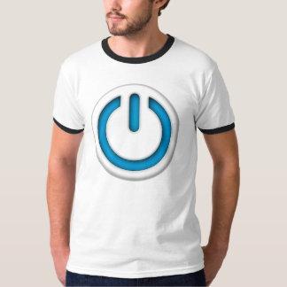 T-shirt bleu de sonnerie de bouton de puissance