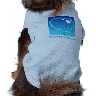 T-shirt bleu de sonnerie de chienchien de Valentin Tee-shirts Pour Chien