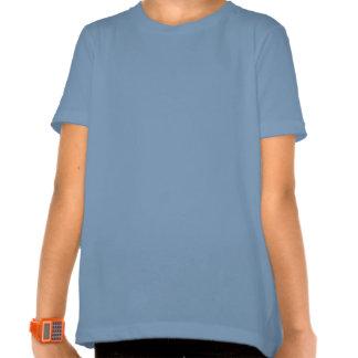 T-shirt bleu de sonnerie de filles de coeurs de pa