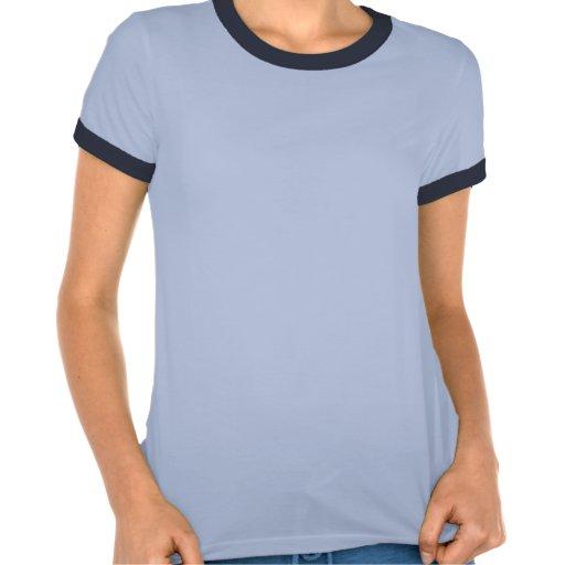 T-shirt bleu de sonnerie vintage de dames avec le