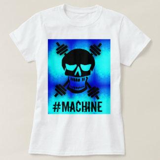 T-shirt Bleu d'haltère de crâne de machine