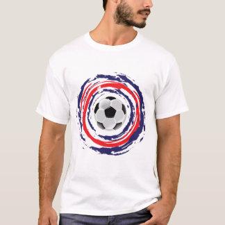 T-shirt Bleu du football et blanc rouges