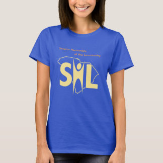 T-shirt bleu du SHL des femmes avec l'URL