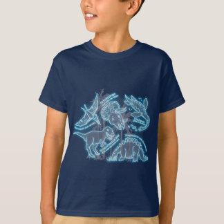 T-shirt bleu électrique de dinosaure