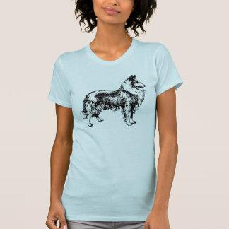 T-shirt bleu femmes rugueuses de chien de colley