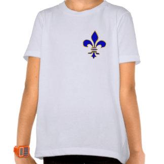 T-shirt bleu-foncé et de gold fleur de lis