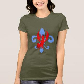 T-shirt Blue Fleur De Lis affligé, écrevisse