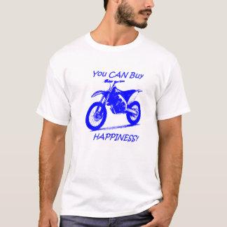 T-shirt Bonheur d'achat - bleu sur le blanc