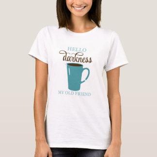 T-shirt Bonjour chemise, blanc et Teal d'humour de café
