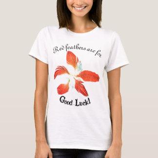 T-shirt Bonne chance, t'shirt rouge de fleur de plumes
