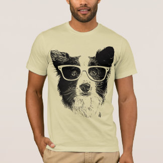 T-shirt Border collie glasses hipster Dog