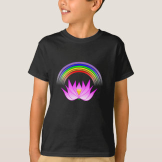 T-shirt Bouddhiste Lotus d'arc-en-ciel