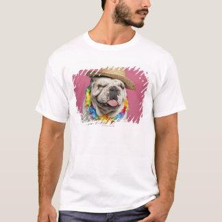 T-shirt Bouledogue anglais (18 mois) portant une paille