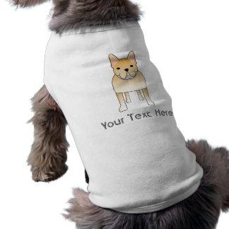 T-shirt Bouledogue français crème. Bande dessinée de chien