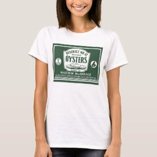 T-shirt breton d'étiquette d'huîtres de rétro cap