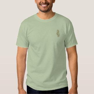 T-shirt Brodé Chemise brodée par Kokopelli verte en pierre