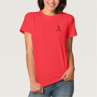 T-shirt Brodé Conscience de SIDA d'HIV - RUBAN ROUGE BRODÉ