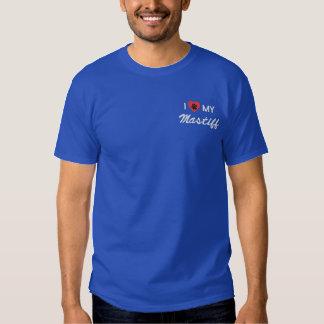 T-shirt Brodé J'aime (coeur) mon mastiff Pawprint