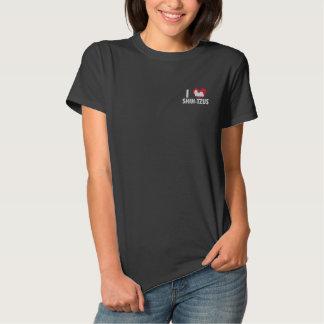 T-shirt Brodé J'aime des femmes de Shih Tzus