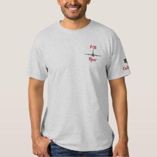 T-shirt Brodé Pièce en t F-16 avec l'indicatif d'appel brodé