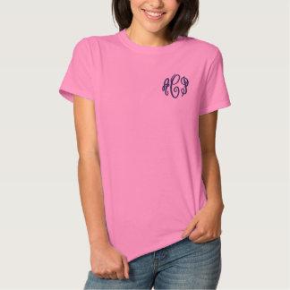 T-shirt Brodé Rose et monogramme brodé par manuscrit de marine
