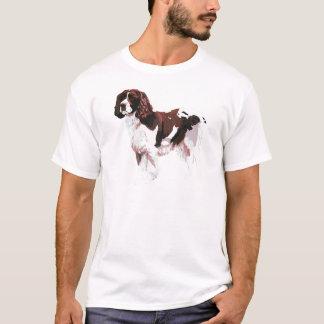 T-shirt Brown et springer spaniel blanc