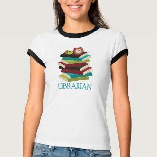 T-shirt Cadeau mignon de bibliothécaire de pile de livre