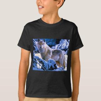 T-shirt Cadeaux d'art de loup de bois de construction