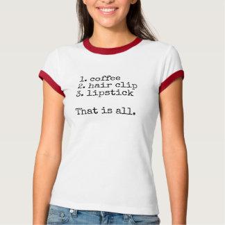 T-shirt Café, agrafe de cheveux, rouge à lèvres - le