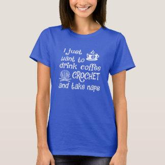T-shirt Café, crochet et petits sommes