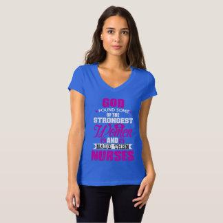 T-shirt CamisetaJersey Col V God Created Nurses Women
