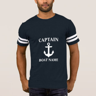 T-shirt Capitaine nautique Boat Name Anchor FB