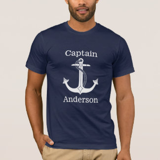 T-shirt Capitaine nautique White Anchor Personalized
