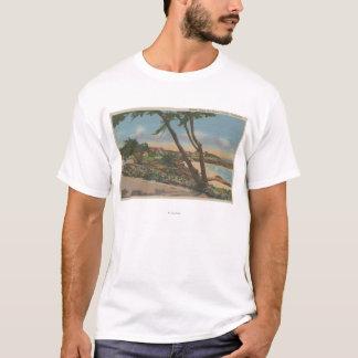 T-shirt Carmel, CA - maisons le long de la vue de rivage