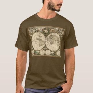 T-shirt Carte 1660 du monde d'antiquité par Frederick de