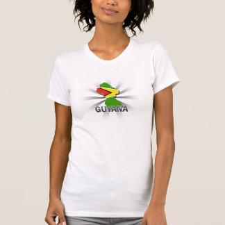 T-shirt Carte 2,0 de drapeau de la Guyane
