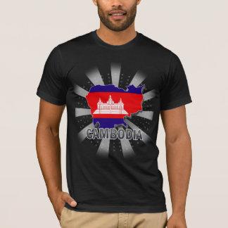 T-shirt Carte 2,0 de drapeau du Cambodge